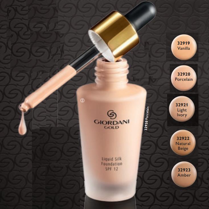 Bảng màu dòng kem nền Giordani Gold Liquid Silk Foundation SPF12
